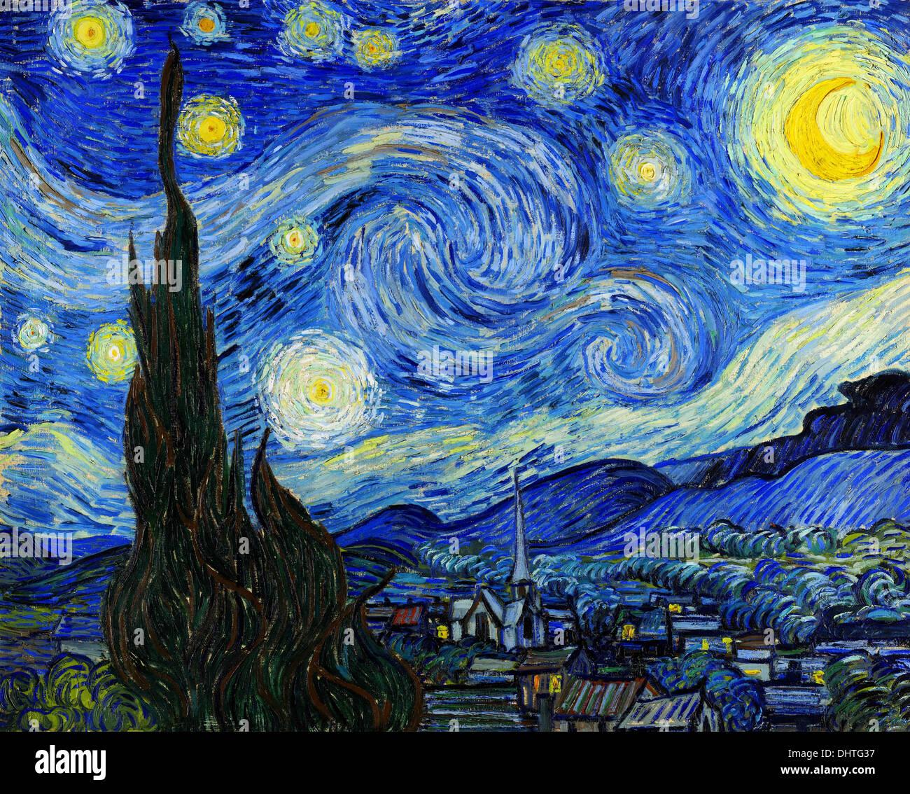Sternenklare Nacht - von Vincent Van Gogh 1889 Stockbild