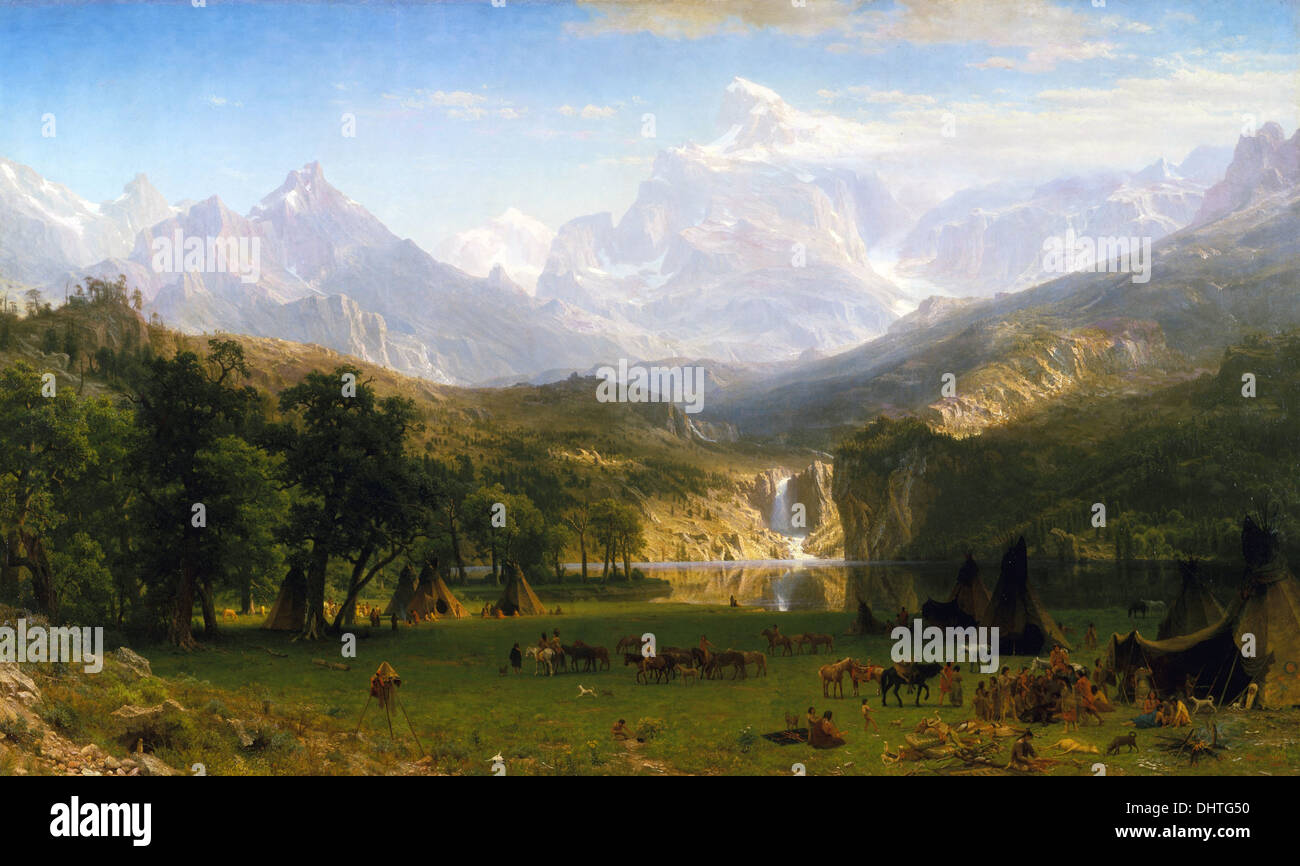 Die Rocky Mountains, Lander Peak - von Albert Bierstadt, 1863, Hudson River School Stockbild