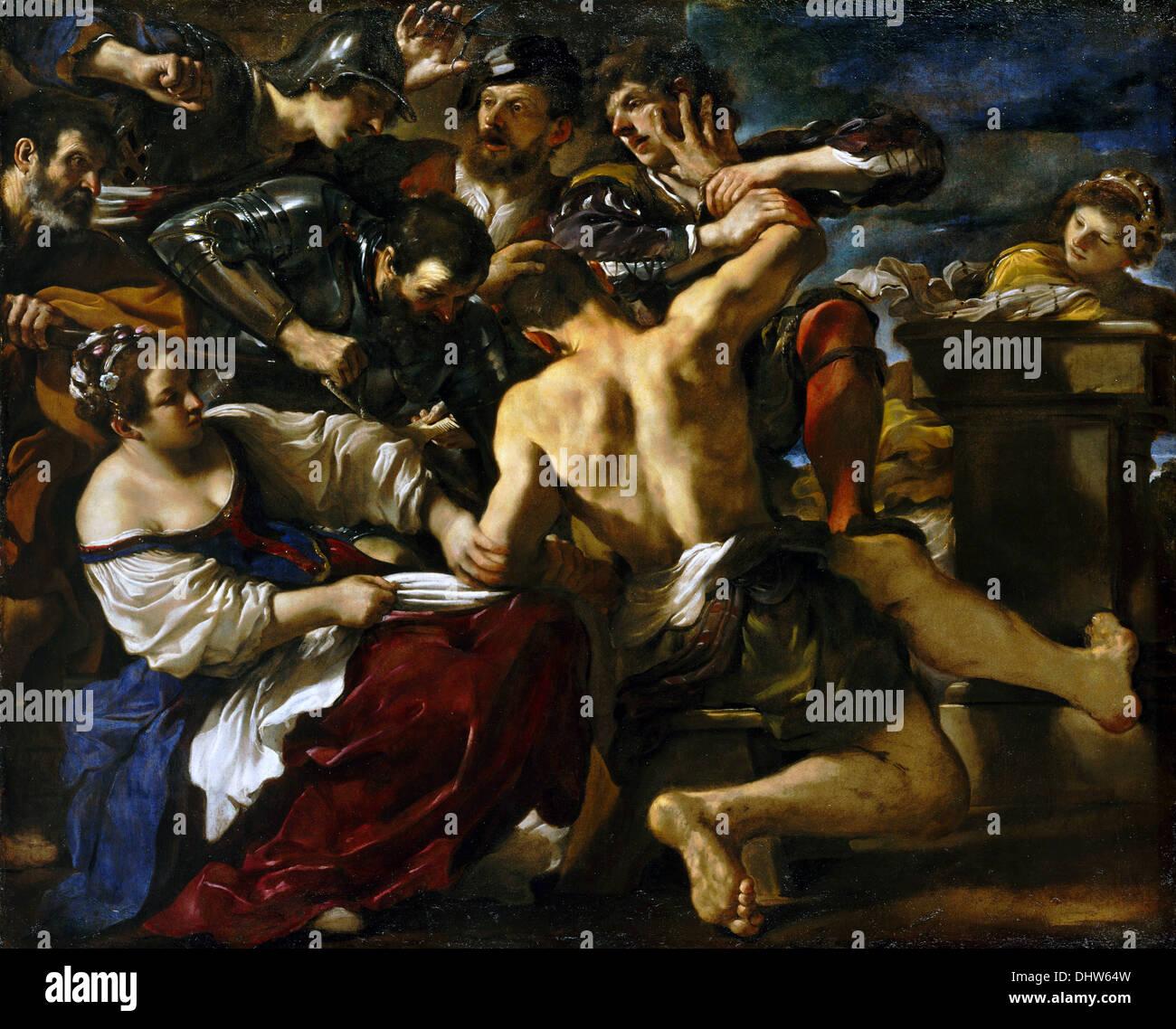 Samson, eingefangen von den Philistern - von Guercino, 1619 Stockbild
