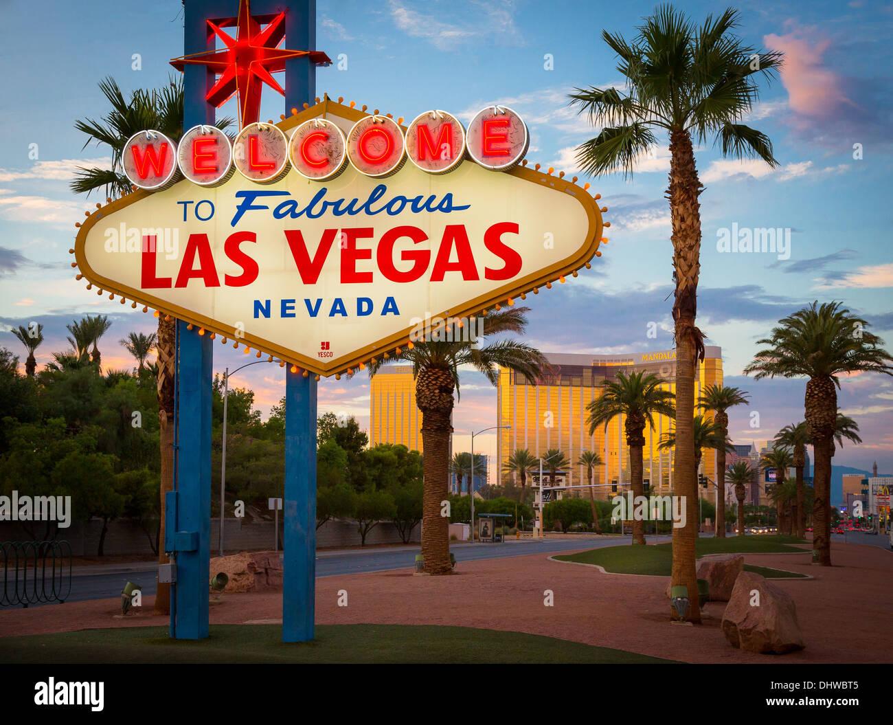 Willkommensschild in Las Vegas, Nevada Stockbild