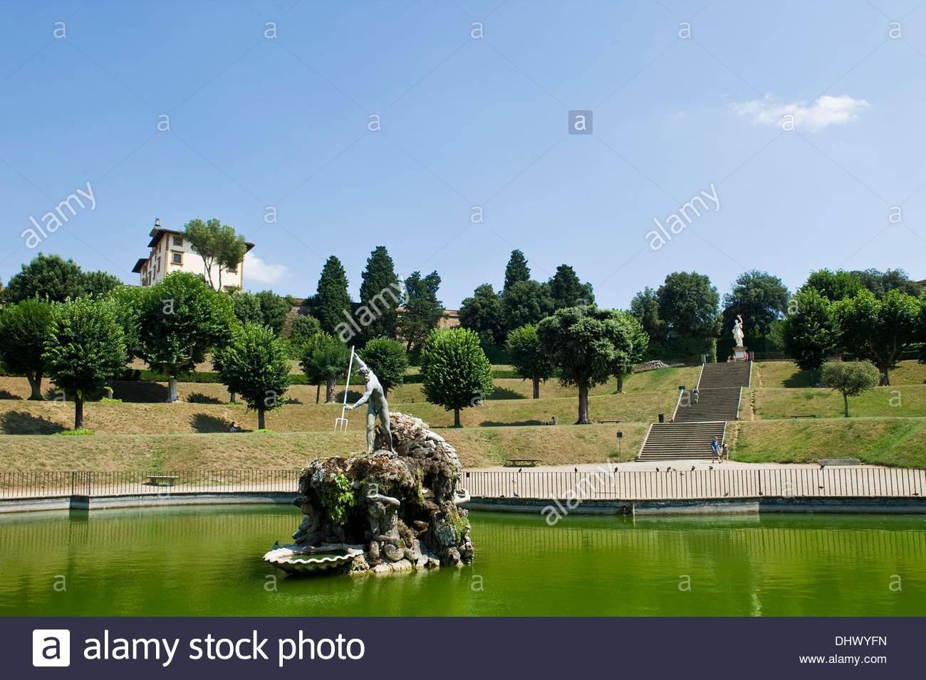 Neptunbrunnen giardino di boboli florenz toskana stockfoto