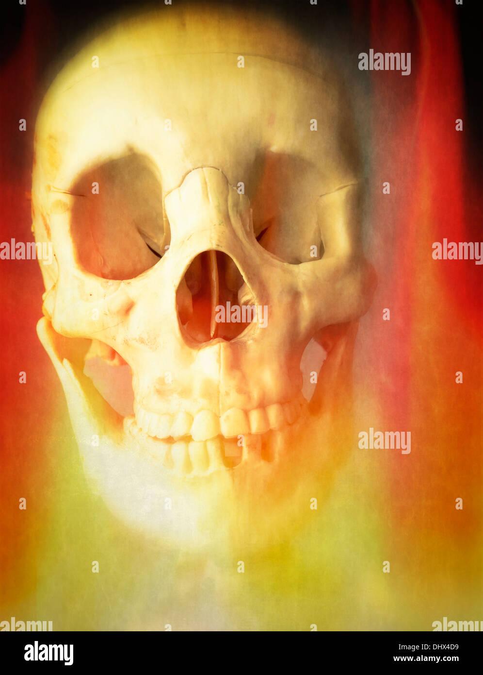 Ein menschlicher Schädel im Höllenfeuer brennen. Stockbild