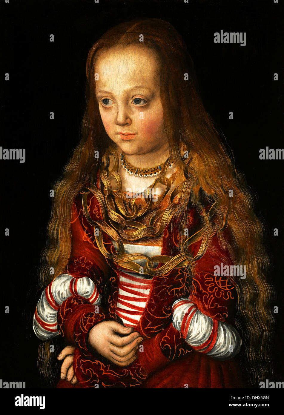 Eine Prinzessin von Sachsen - von Lucas Cranach dem älteren, 1517 Stockbild