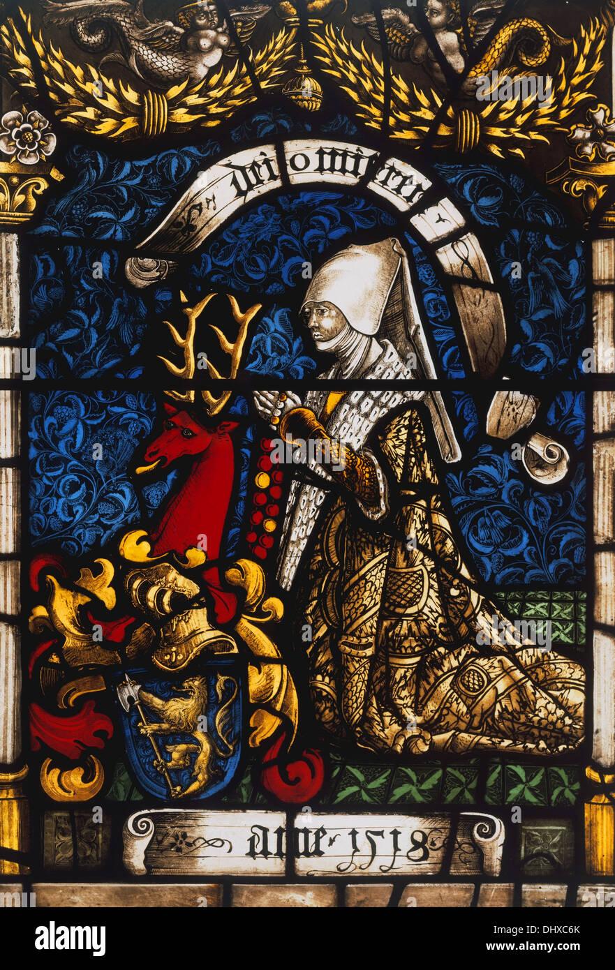 Heraldische Panel von Barbara von Zimmern, 1518, Glasmalerei, Deutschland Stockbild