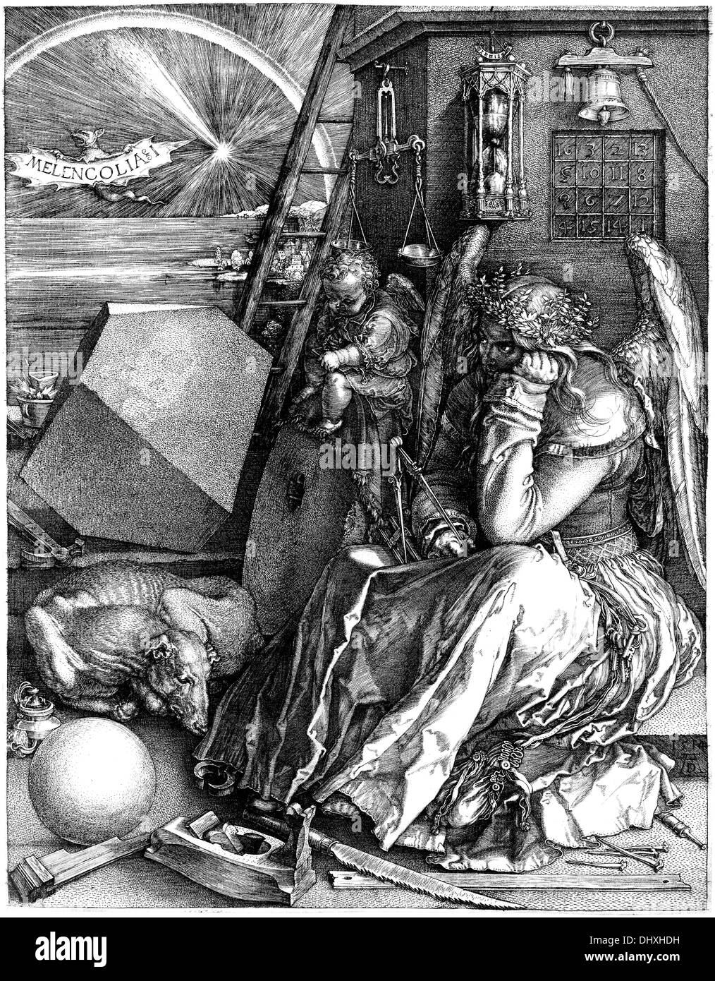 Melancholie, ein Kupferstich - von Albrecht Dürer, 1514 Stockbild