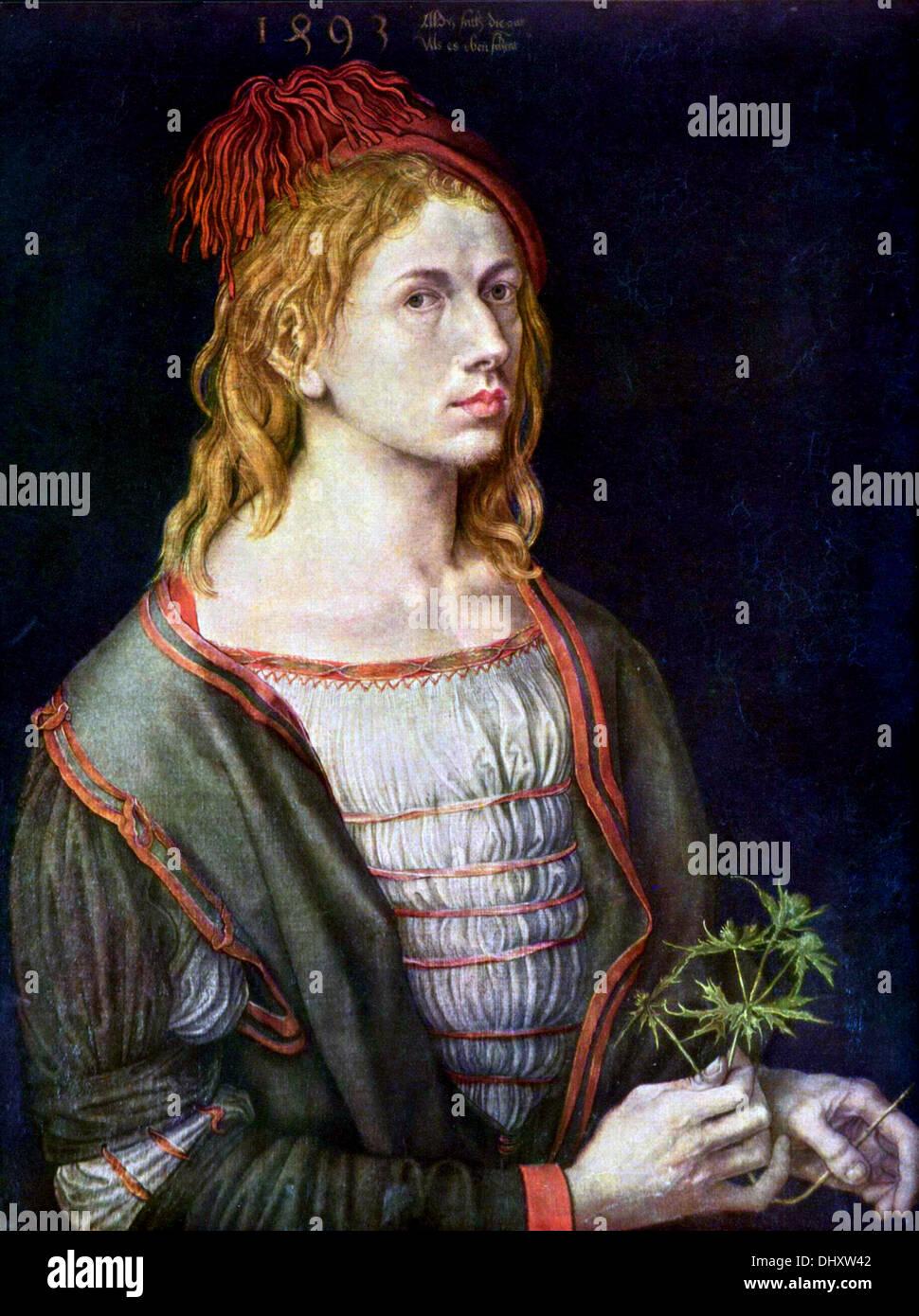 Selbstporträt-von Albrecht Dürer, 1493 Stockbild