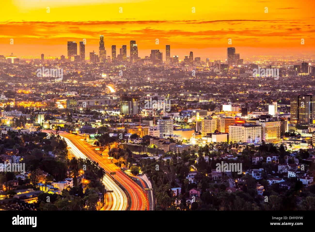 Die Innenstadt von Los Angeles, Kalifornien, USA-Skyline im Morgengrauen. Stockbild