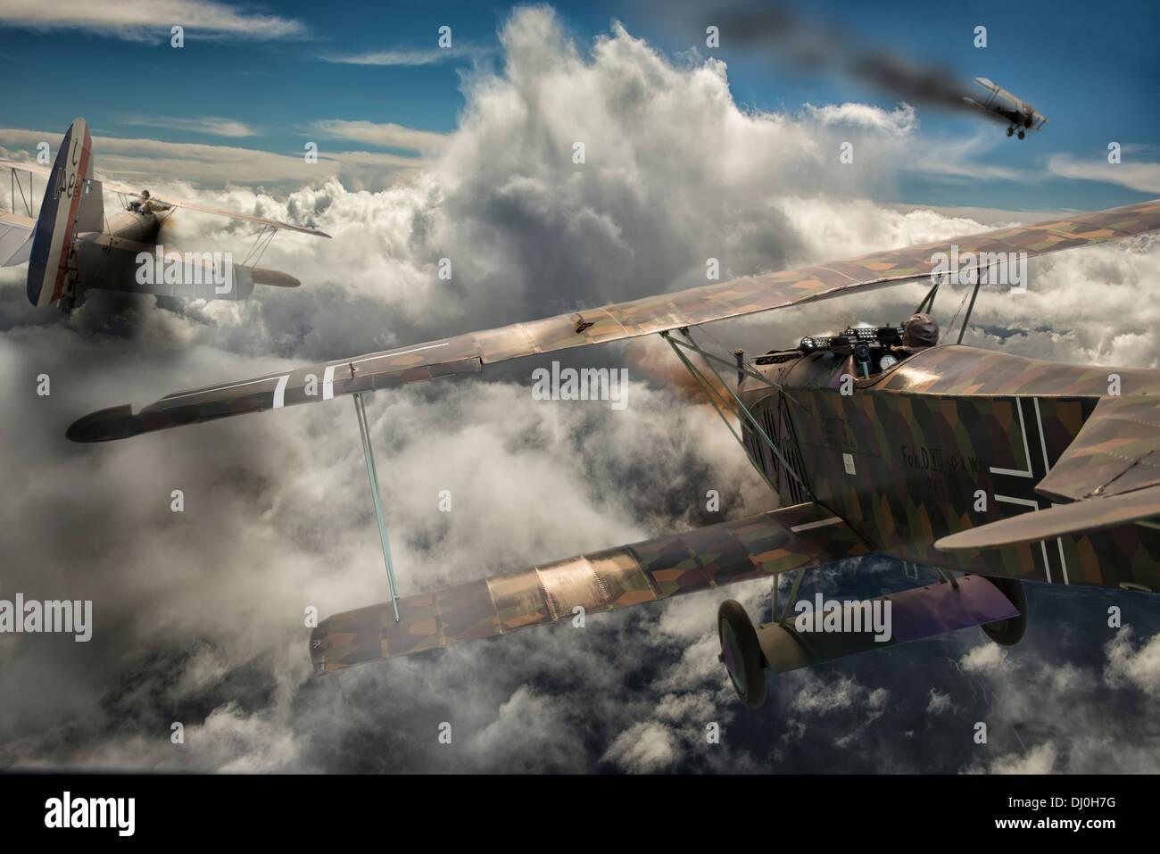 Luftkampf zwischen zwei Flugzeuge des ersten Weltkriegs. Photoshop-Komposition Stockfoto