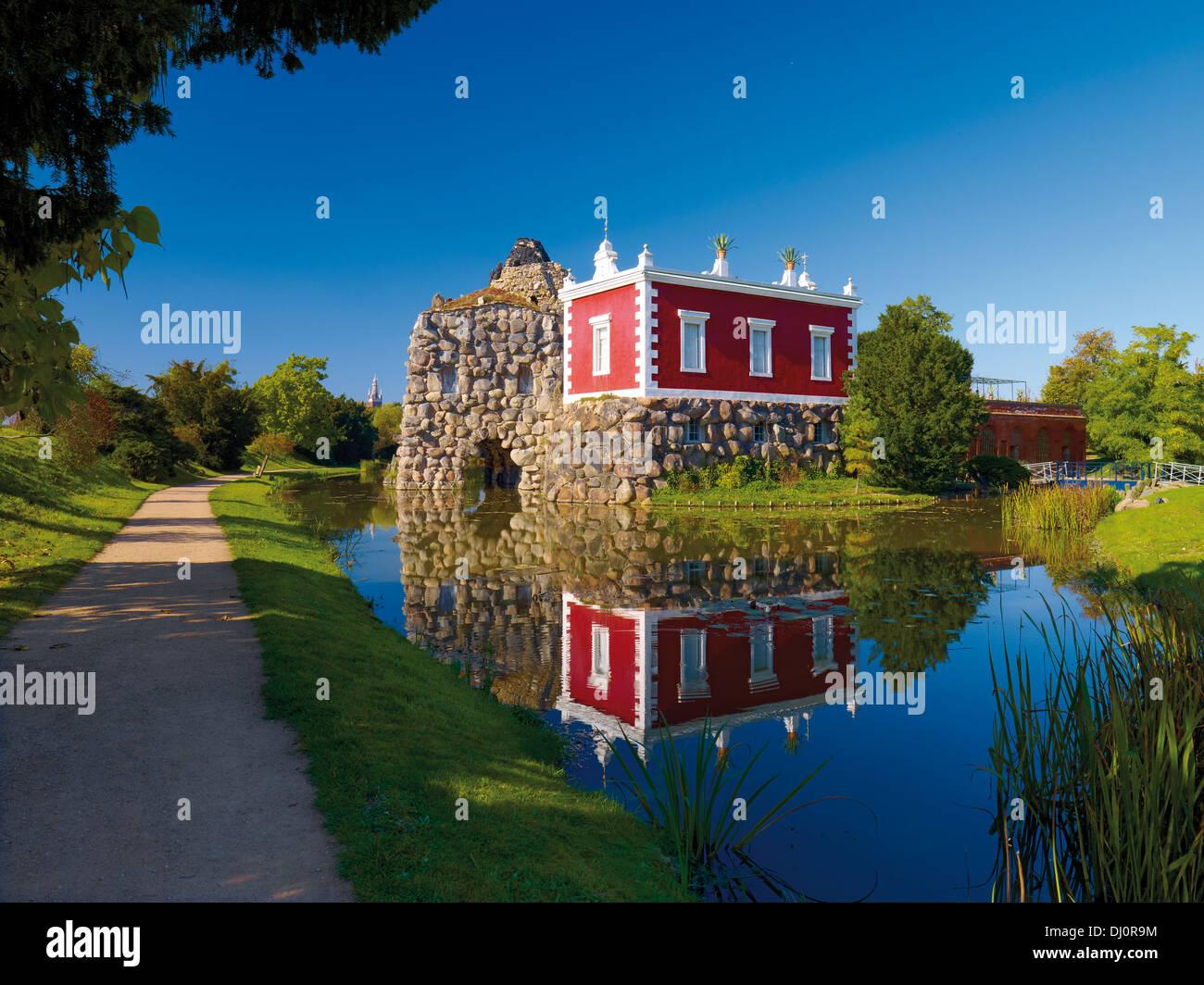 Villa Hamilton, Rock island Stein, Wörlitzer Park, Sachsen-Anhalt, Deutschland Stockbild