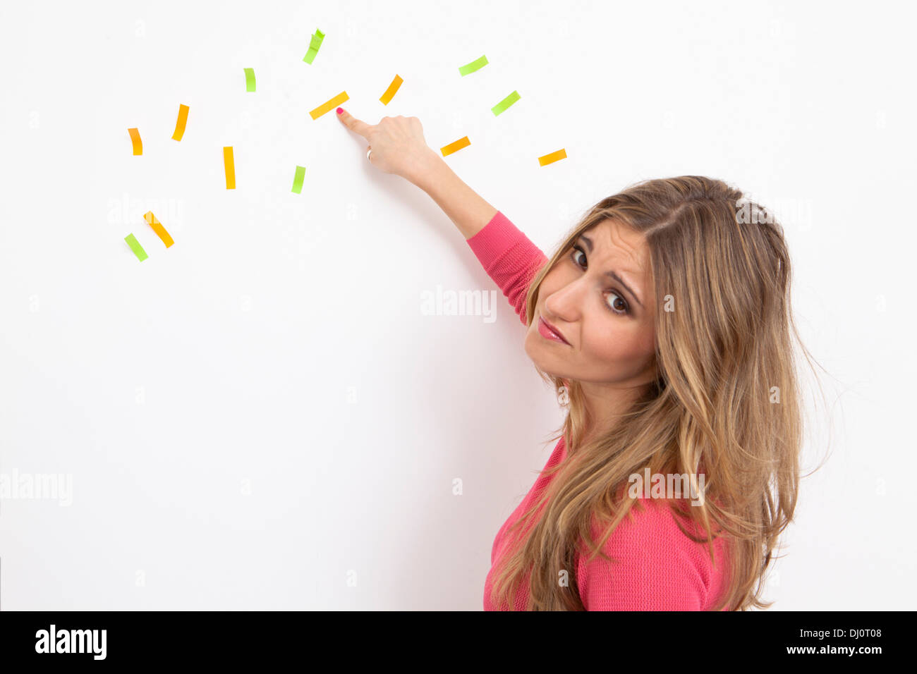 Frau mit verwirrt Ideen Stockbild