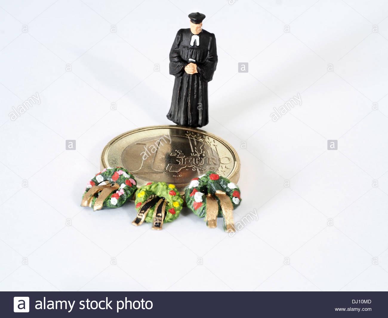 Preiser Figur Priester Bleiben Auf 1 Euro Münze Mit Grab Kränze