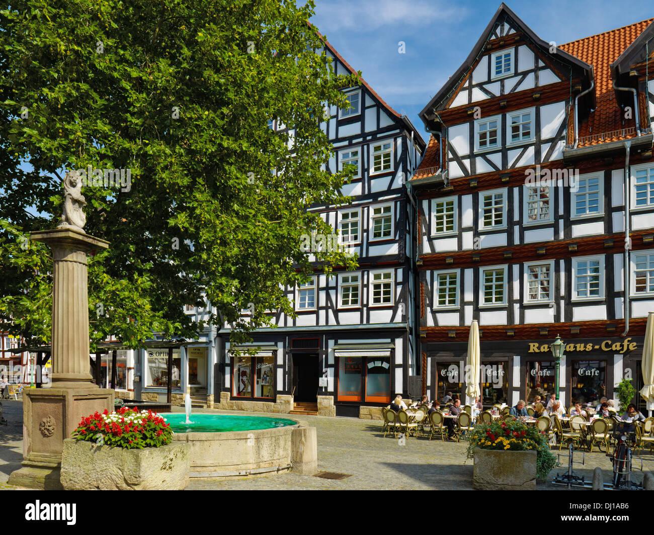 Weihnachtsmarkt Melsungen.Fachwerkhäuser Am Markt Platz Melsungen Hessen Deutschland