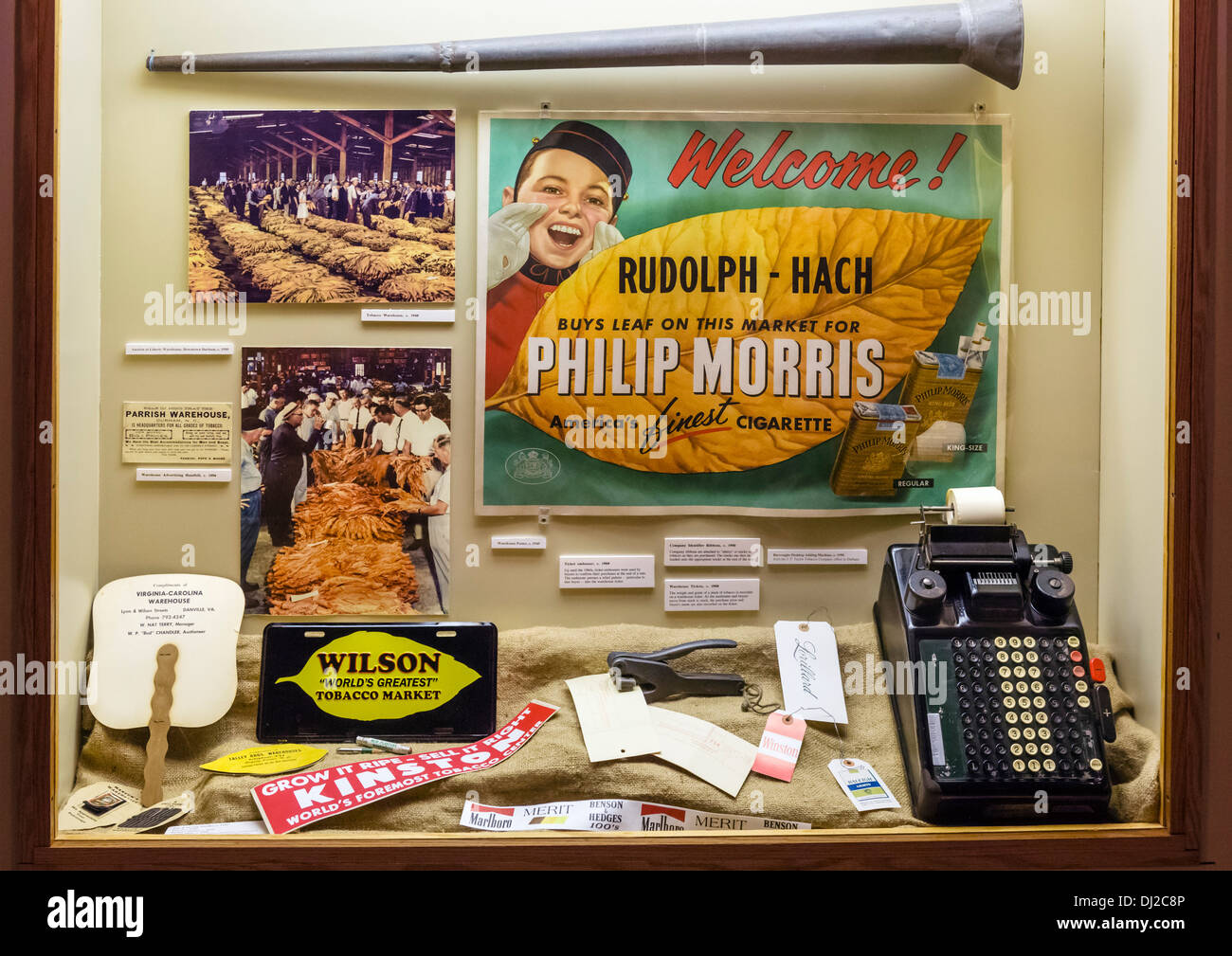 Exponate auf der Duke Homestead und Tabakmuseum, Durham, North Carolina, USA Stockbild