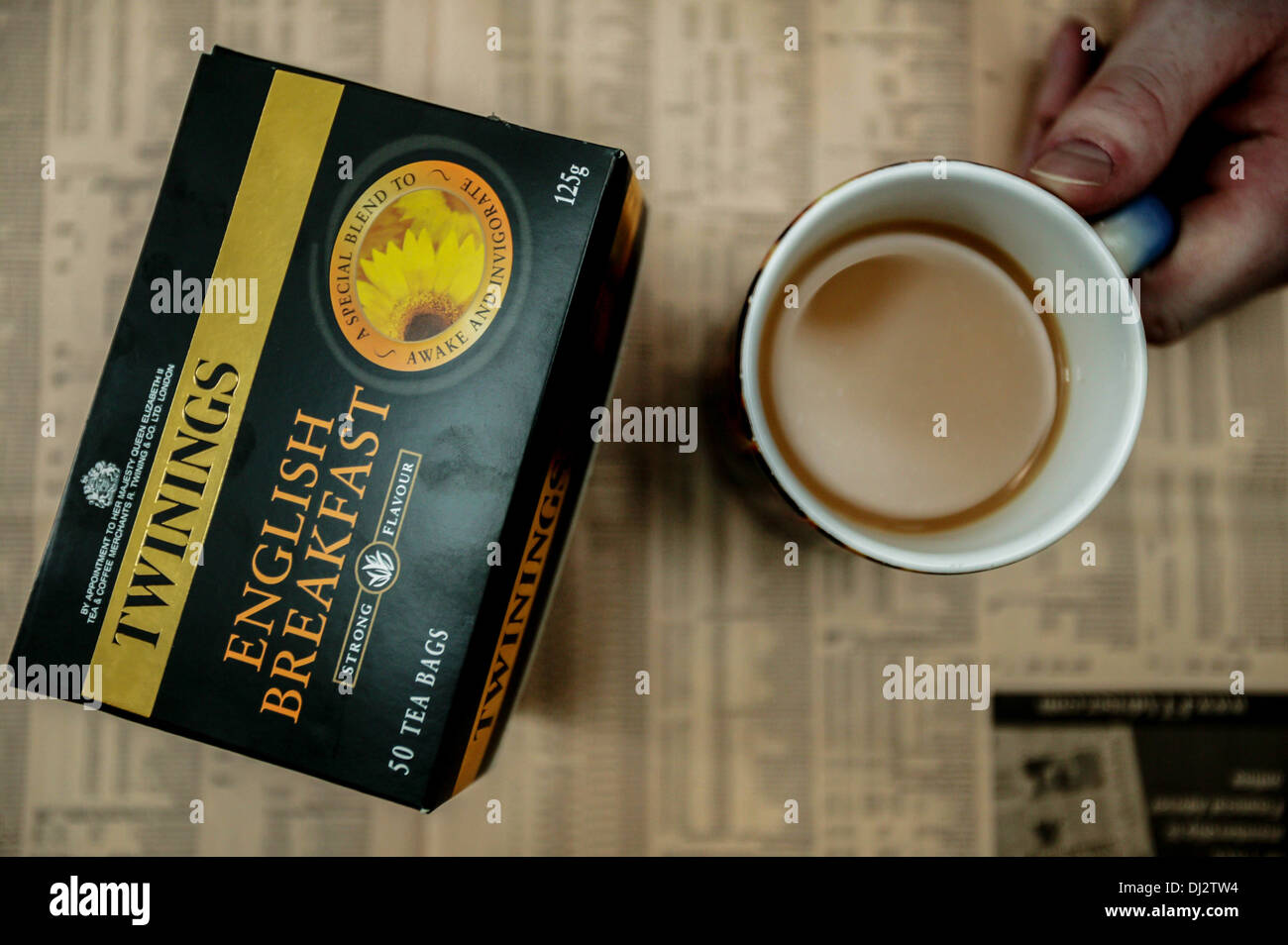 Anschauliches Bild von Twinings Tee; ein Produkt von Lebensmitteln AB. Stockbild