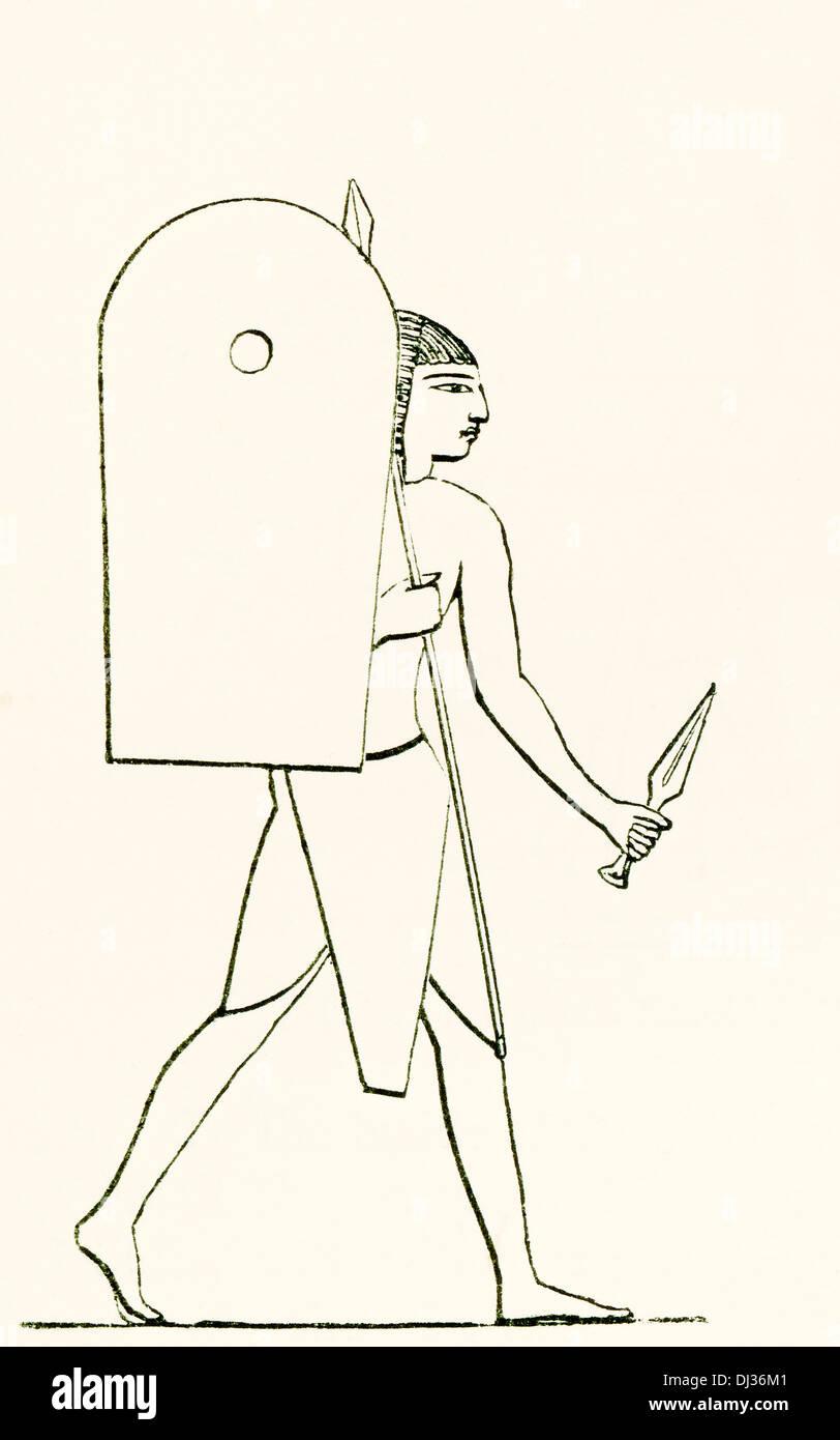 Schwer bewaffnete antiken ägyptischen Soldaten. Stockbild