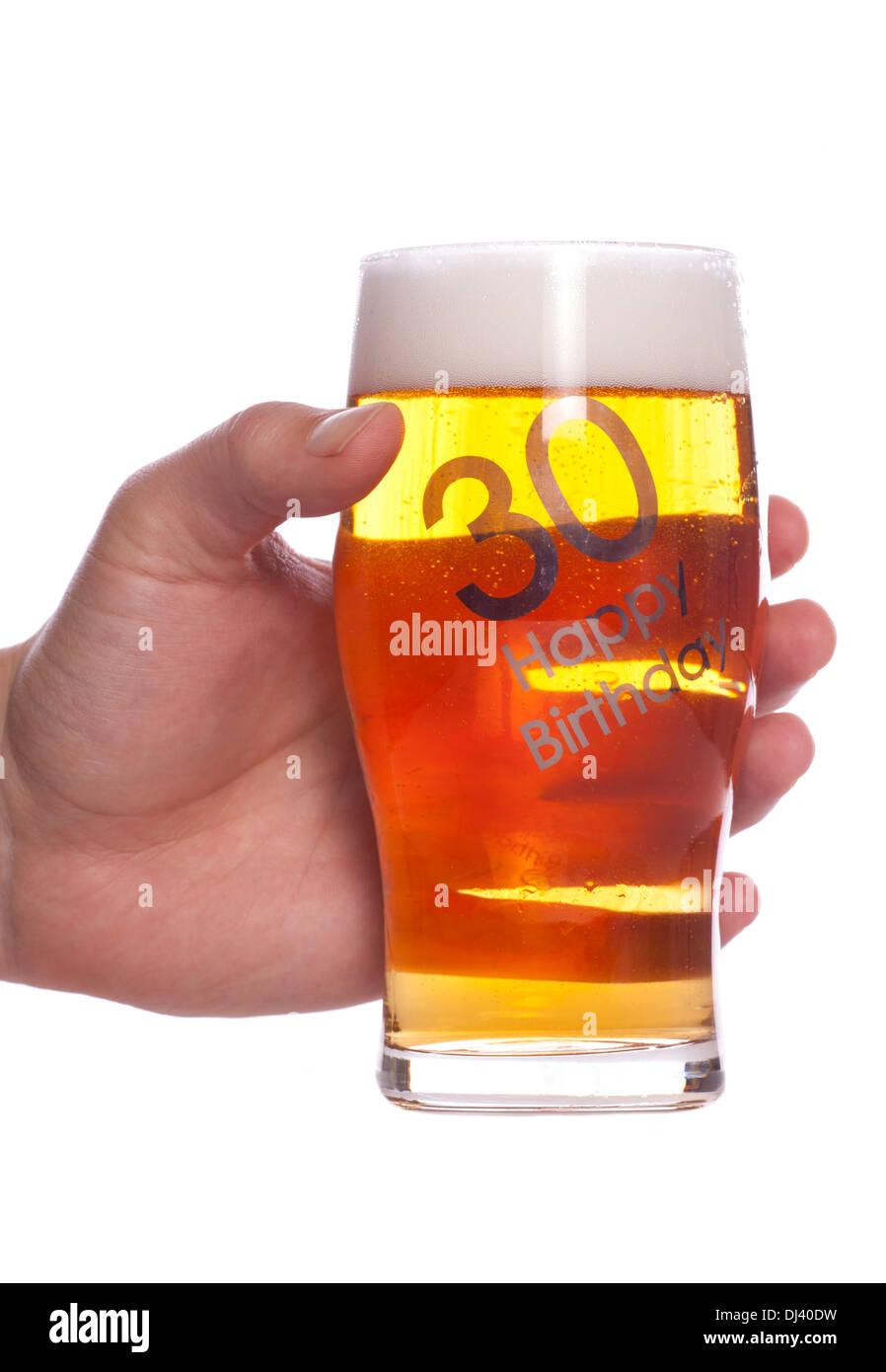 30 Geburtstag Bier Feier Studio Ausschnitt Stockfoto Bild