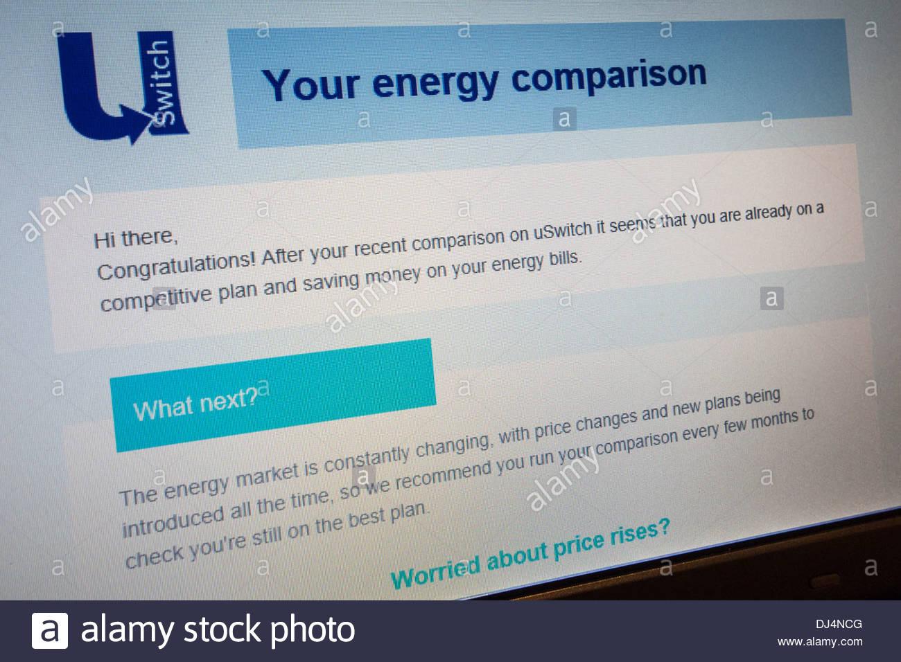 USwitch Energievergleich zeigt, dass der Verbraucher bereits auf einen wettbewerbsfähigen Plan und keine zusätzliche Stockbild