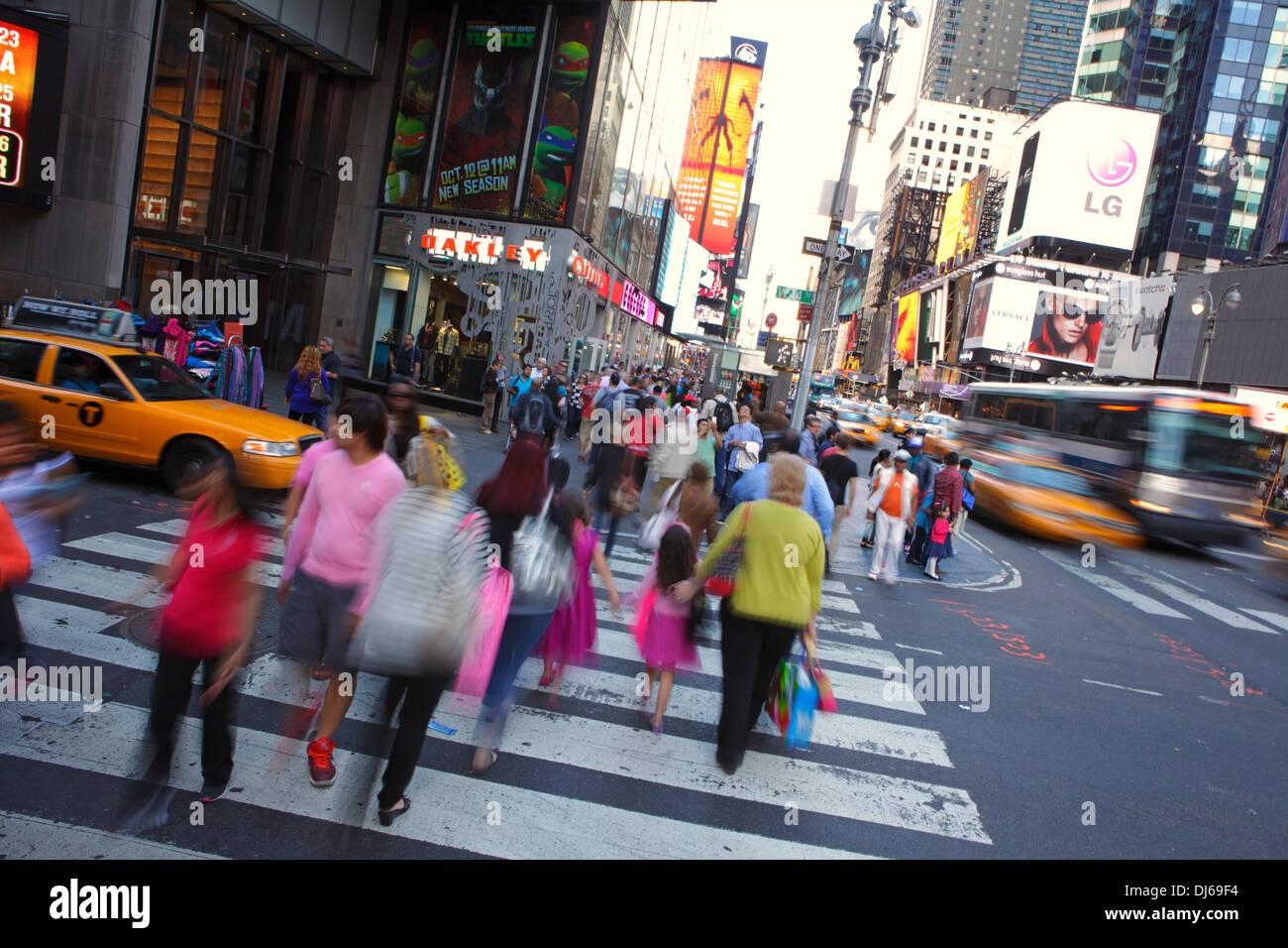 Rush Hour im Time Square, New York City, USA Stockbild