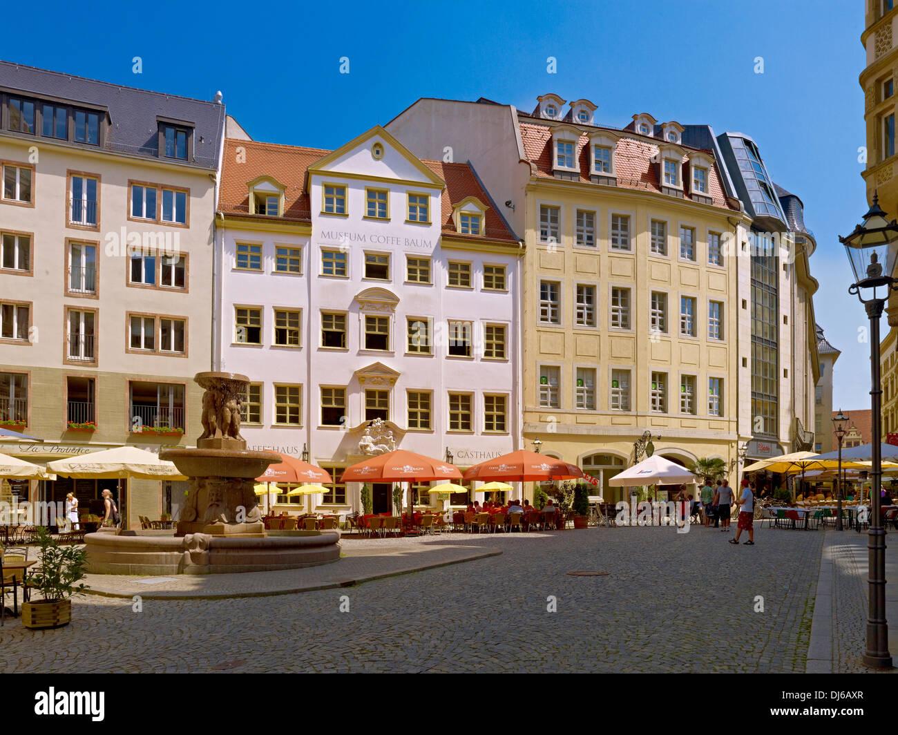 Kleine Fleischergasse Straße, historischer Ort, Haus Zum Arabischen Coffe Baum in Leipzig, Sachsen, Deutschland Stockbild