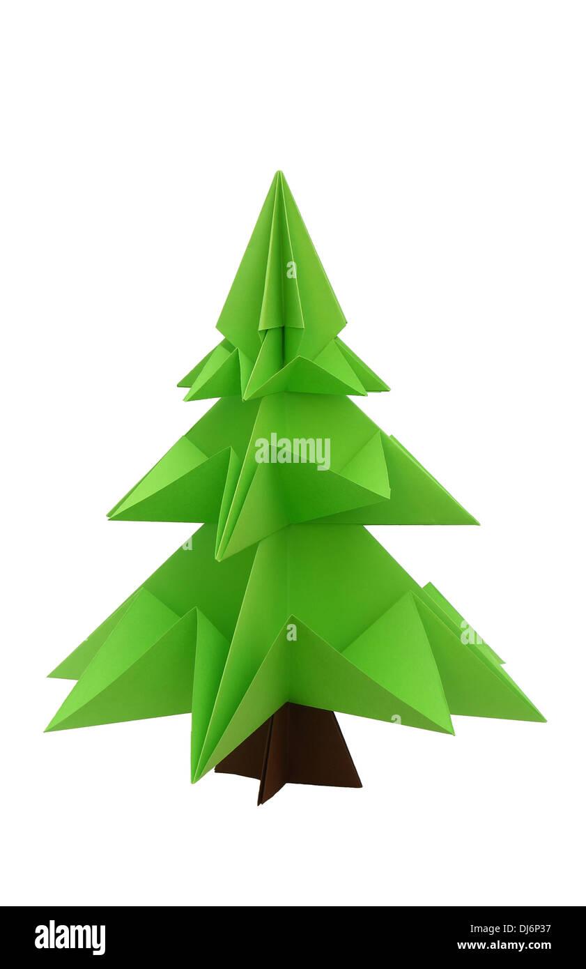 Origami Weihnachtsbaum auf weißem Hintergrund Stockbild