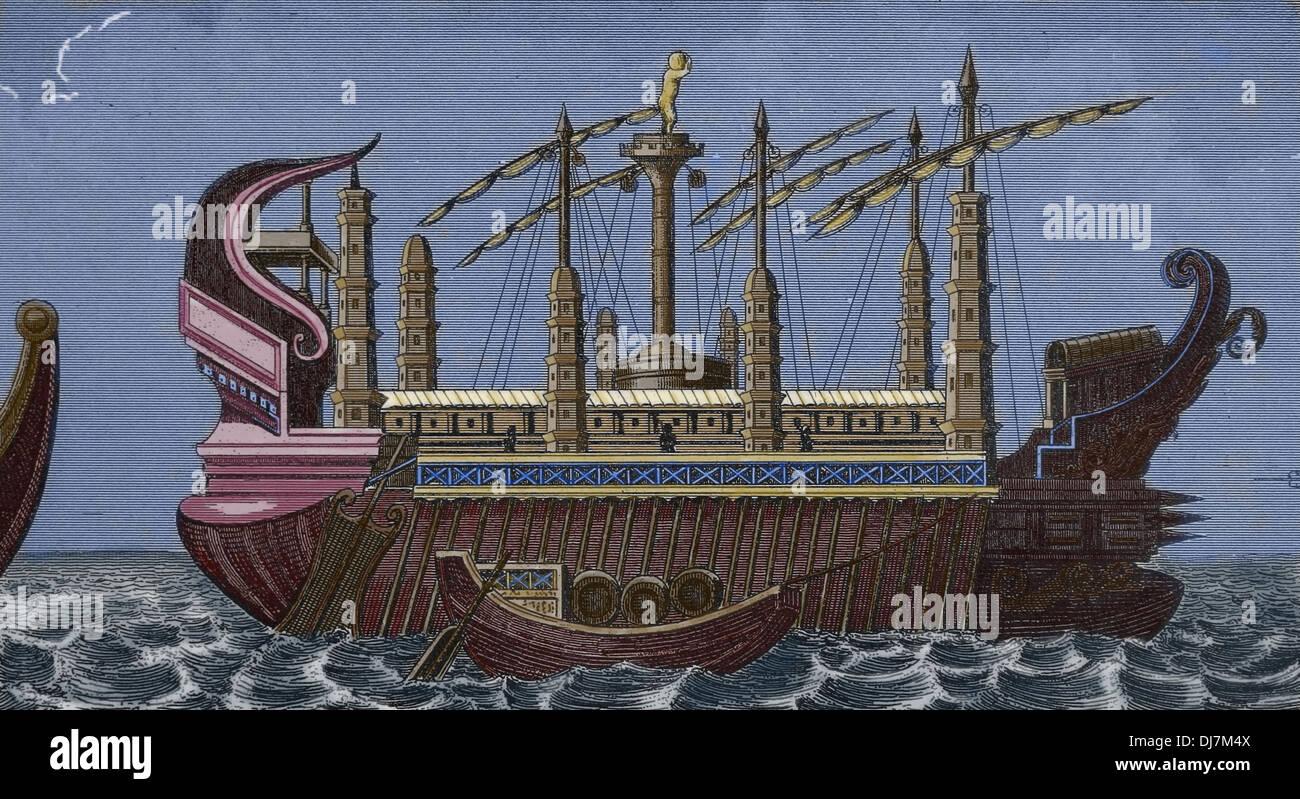 Alten Ägypten. Ägyptische Boot. Gravur. (Spätere Färbung Stockfoto ...