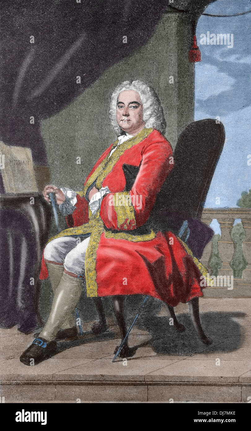 Georg Friedrich Händel (1685-1759). Deutsch-britischer Barock Komponist. Kupferstich von Babbage. Spätere Färbung. Stockbild