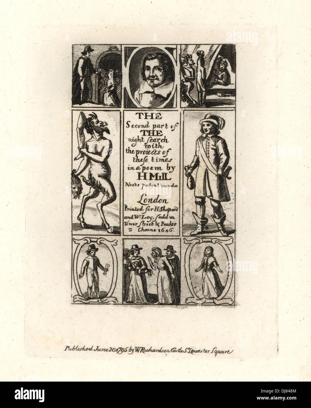 Humphrey Mill, Dichter. Porträt und Vignetten von Männern mit Taschen voller Gold und ein Dämon mit einem abgetrennten Kopf und Bein. Stockbild