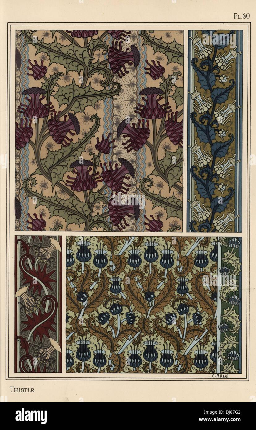 Distel In Jugendstil Muster Fur Tapeten Und Stoffe Stockfoto Bild