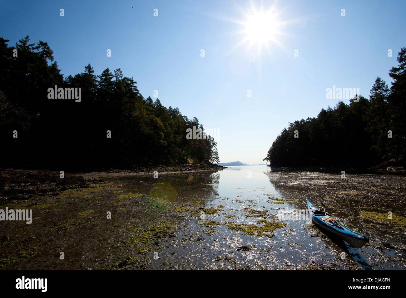 Boot Liegeplatz im trüben Wasser, Gulf Islands, British Columbia, Kanada Stockbild