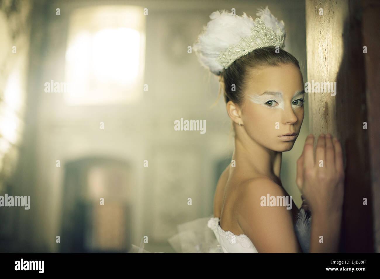 Große Porträt der Schwan-Ballett-Tänzerin Stockbild