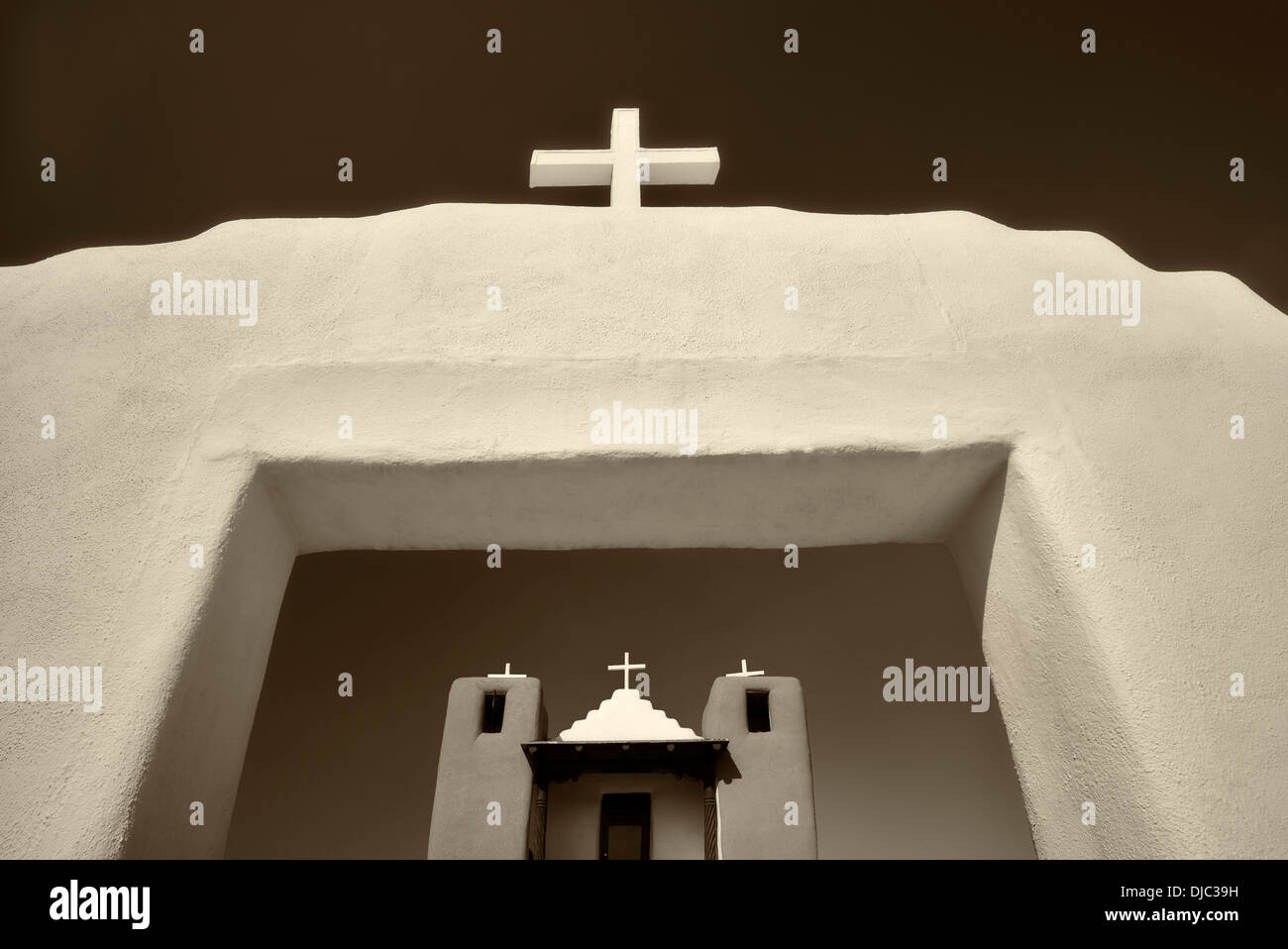 Kirche San Geronimo in de Taos Pueblo. Taos, New Mexiko. Stockbild