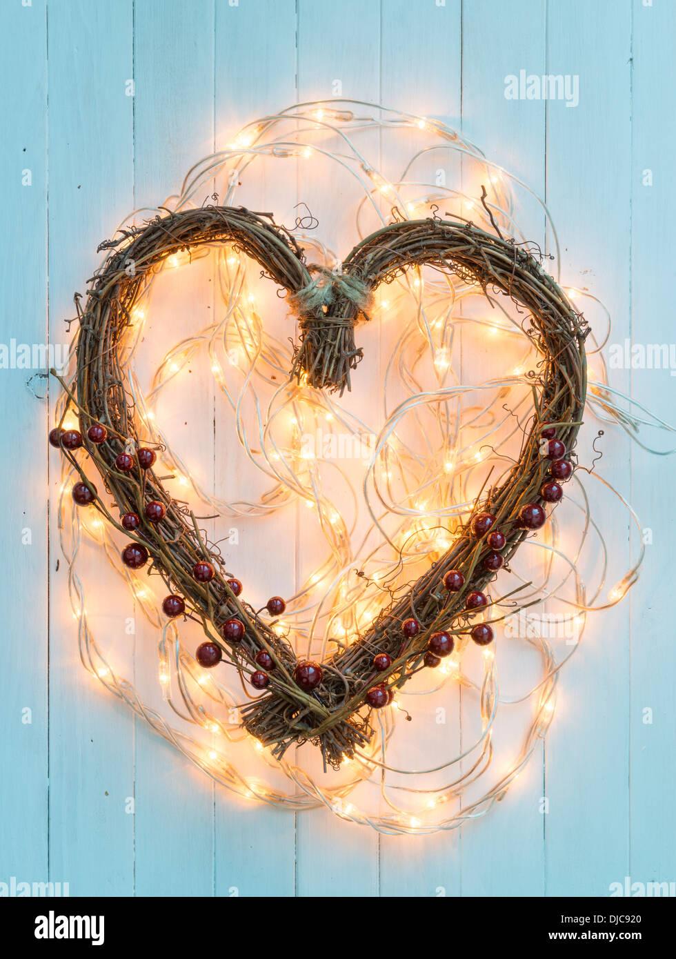 Weihnachtsdekoration in Herzform Stockbild
