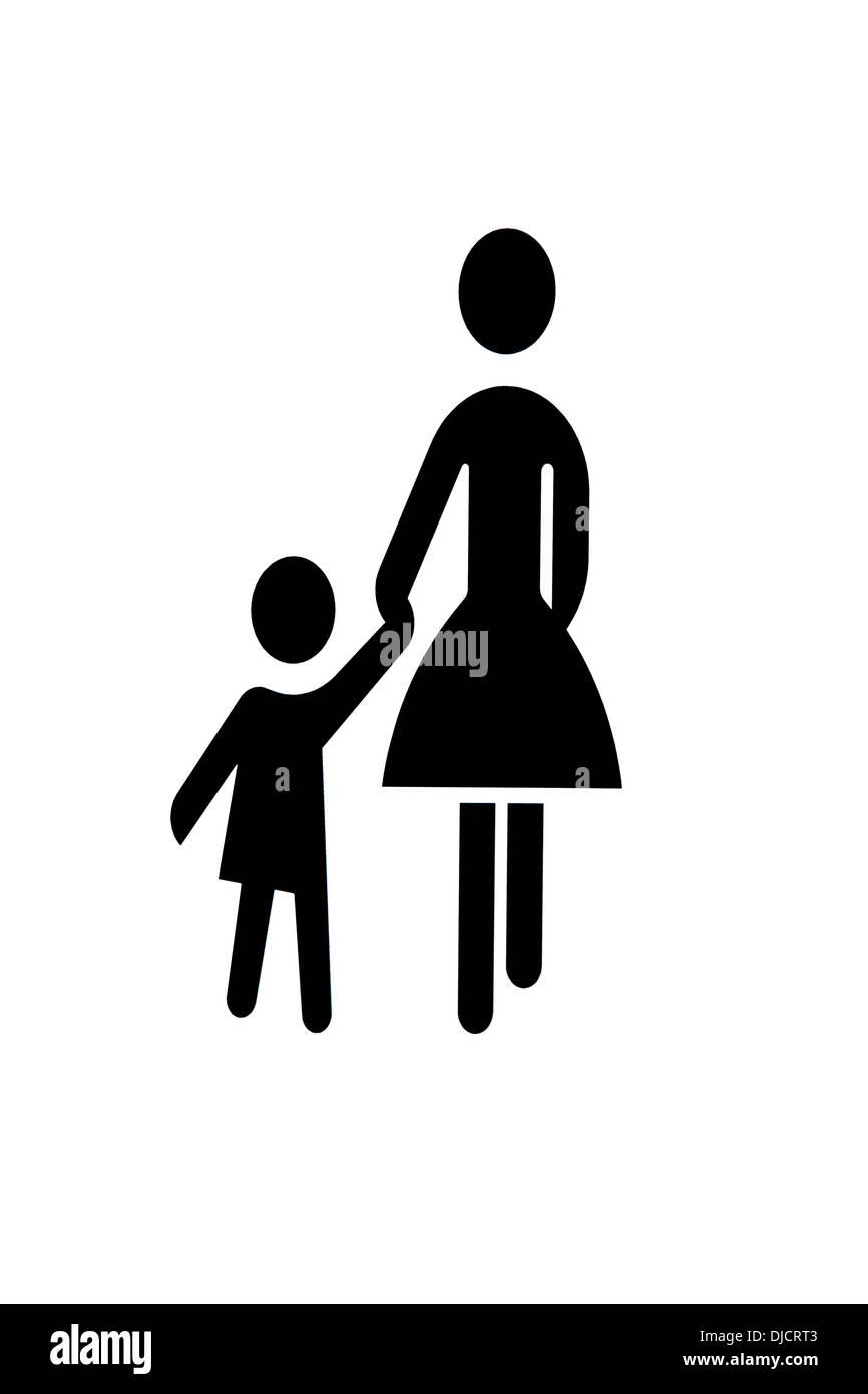 Piktogramm für Mutter und Kind Stockbild