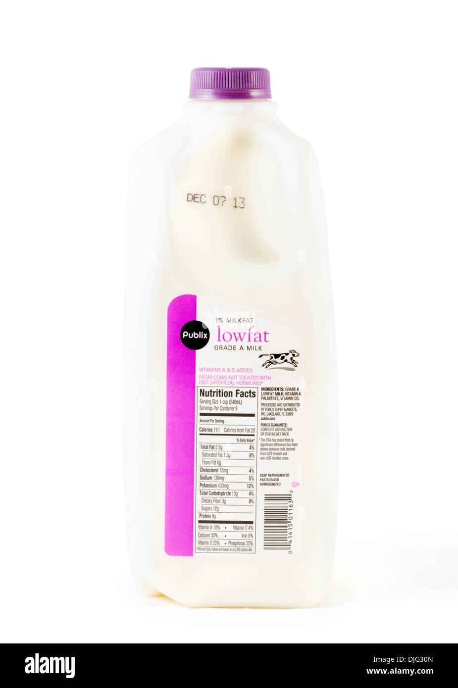Container von Publix frische 1 % fettarme Milch, USA Stockbild