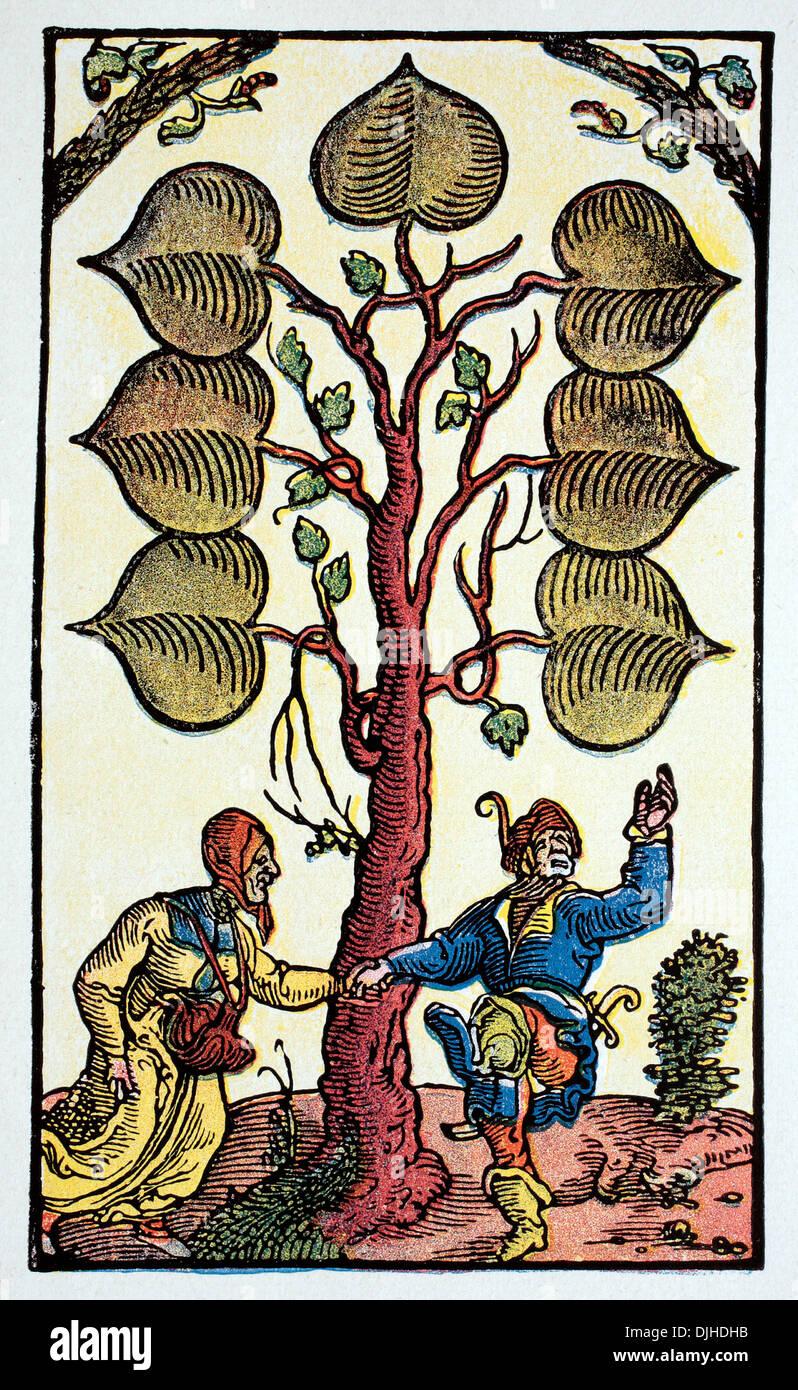 Spielkarte von Peter Floetner, 16. Jahrhundert Stockbild