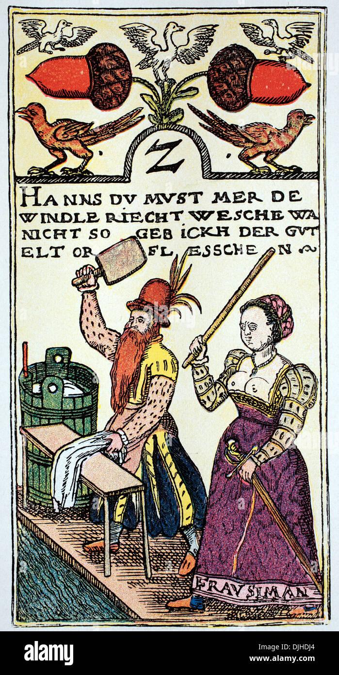 Spielkarte von einem Wiener Meister, 16. Jahrhundert Stockbild
