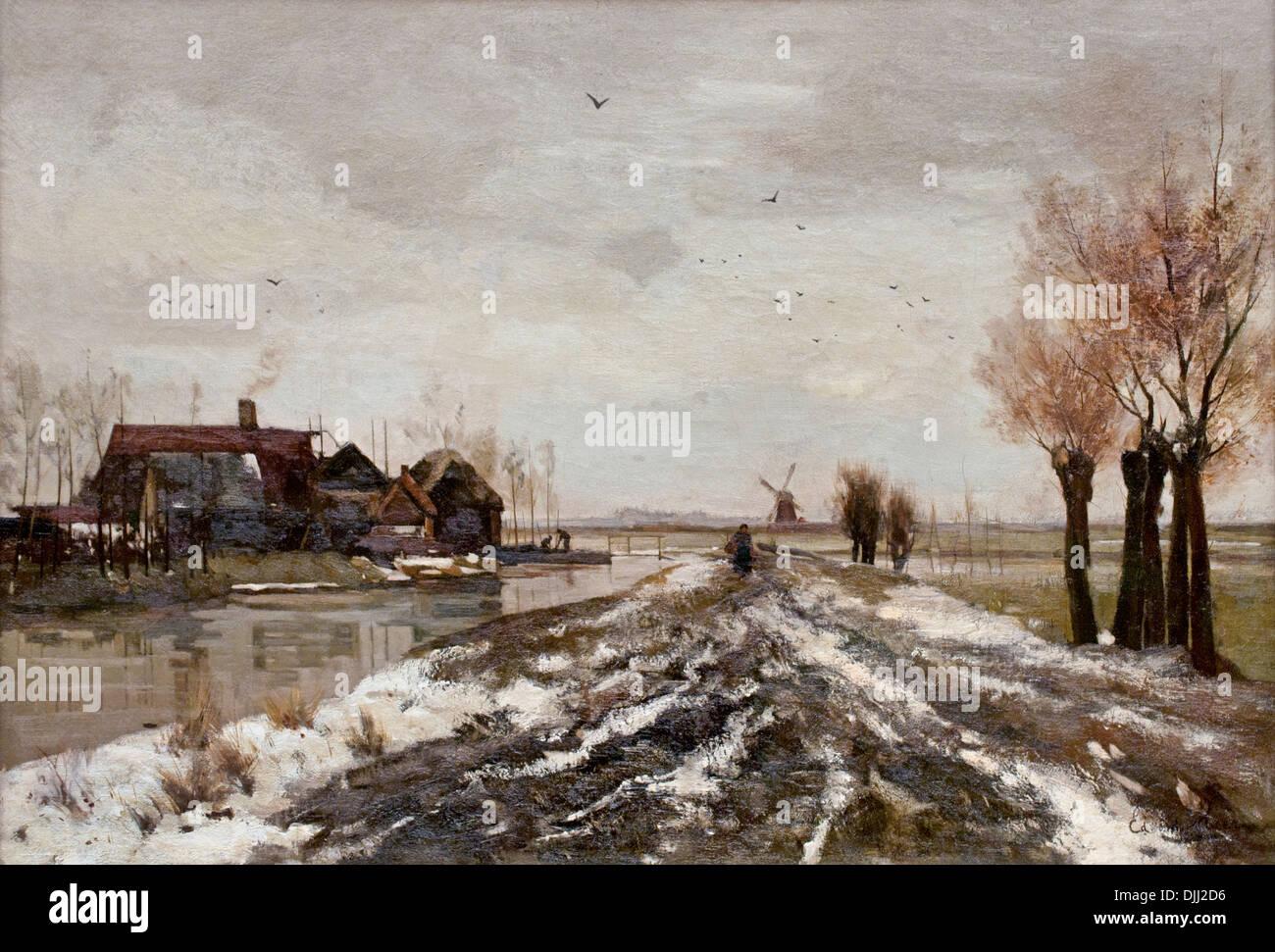 POLDERLANDSCHAFT bei TAUWETTER 1888 EDUARD ALPHONSE VICTOR VAN DER MEER (1846-1889) Niederlande Niederlande Stockbild