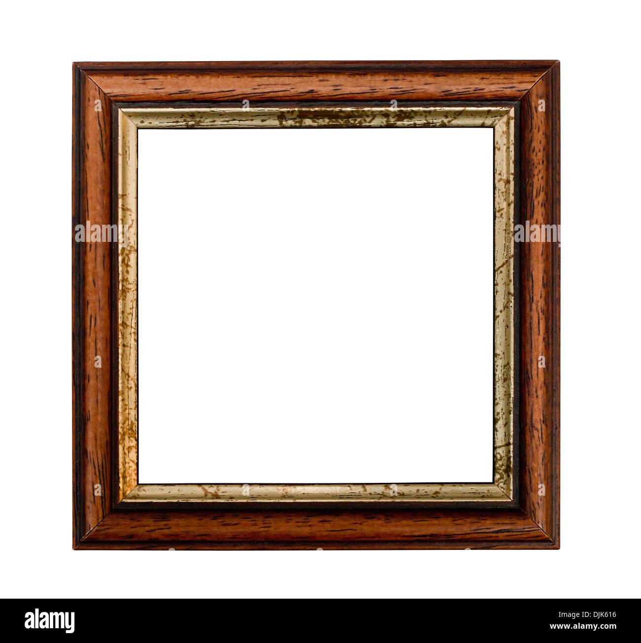 Kleine quadratische Bilderrahmen mit vergoldeten isoliert auf weißem Hintergrund Stockbild