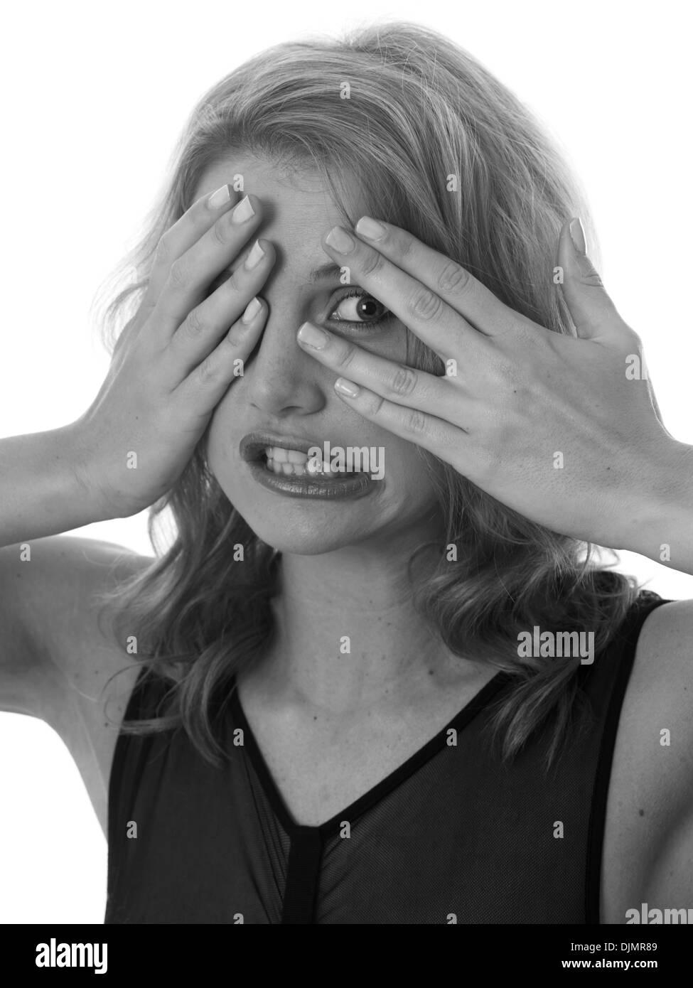-Modell veröffentlicht. Angst Angst junge Frau Stockbild
