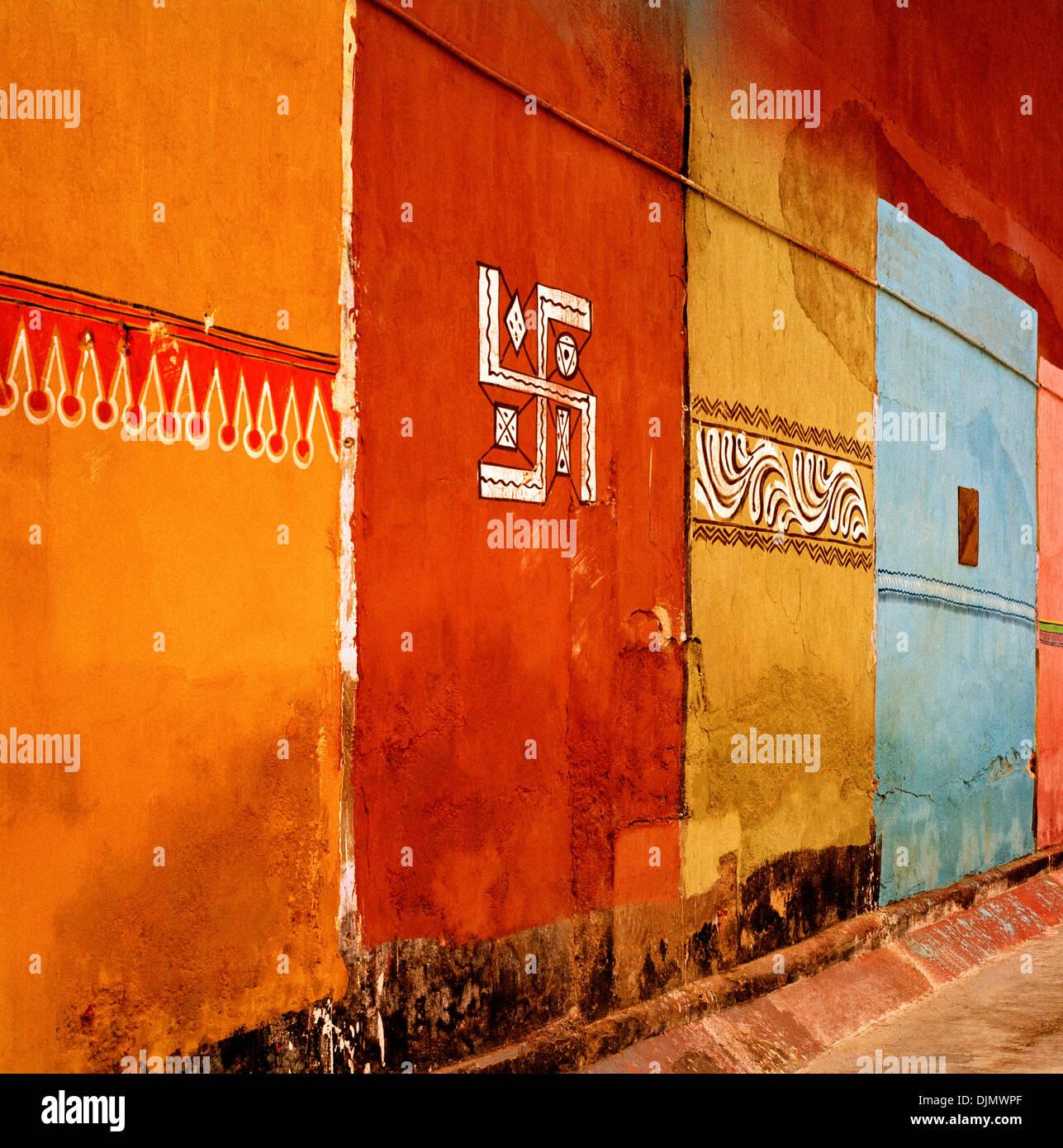 Hinduistische Kunst in Mattancherry Fort Kochi Cochin in Kerala in Südindien in Asien. Religion-religiöse Symbol Symbolik Mughal Moghal Geschichte Beauty Reisen Stockbild