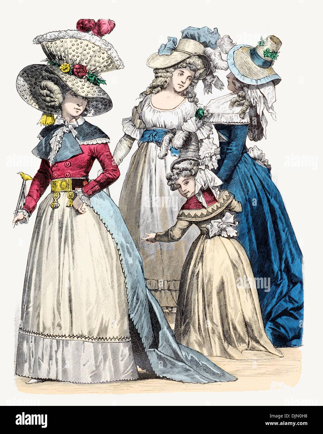 Late18th Jahrhundert XVIII 1700er Jahren Französisch Gentry Stockbild