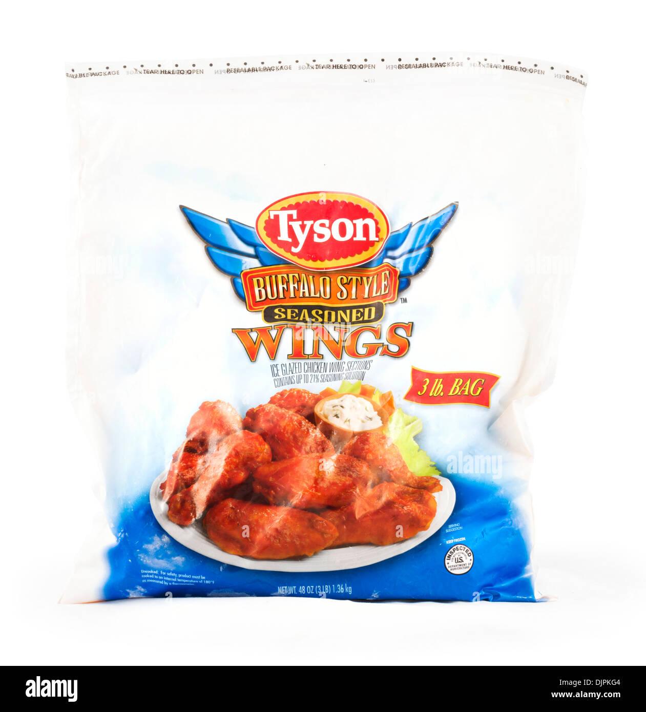 Tasche von Tyson eingefroren Buffalo Style Chicken Wings, USA Stockbild