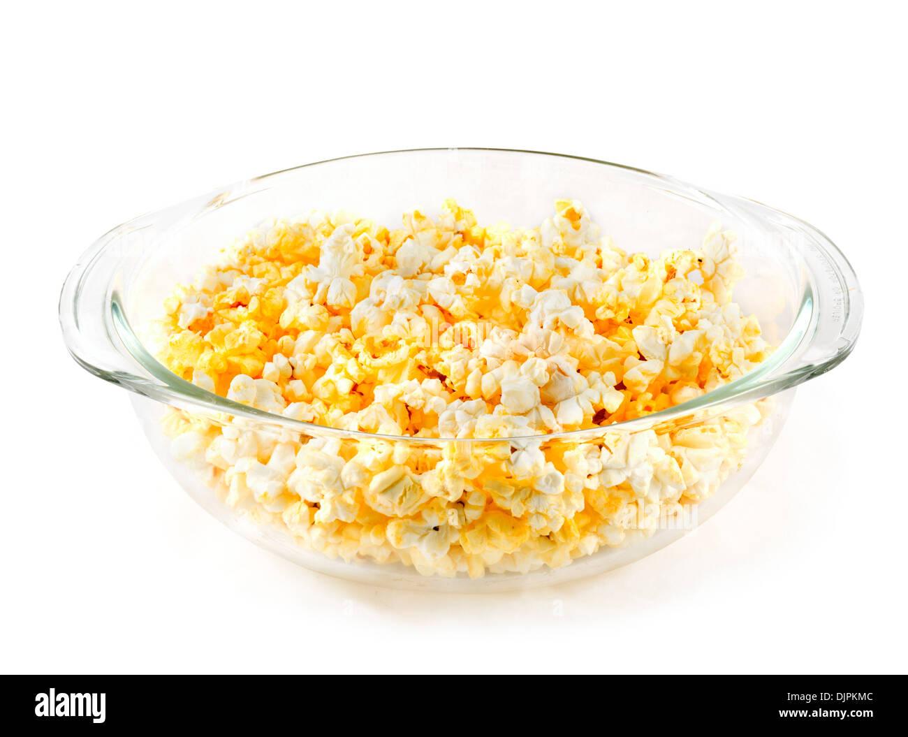 Schüssel mit Mikrowelle Popcorn, USA Stockbild