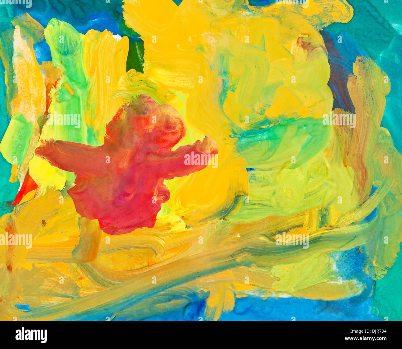 Kinder zeichnen - abstrakte Gouache-Malerei-Hintergrund Stockfoto ...