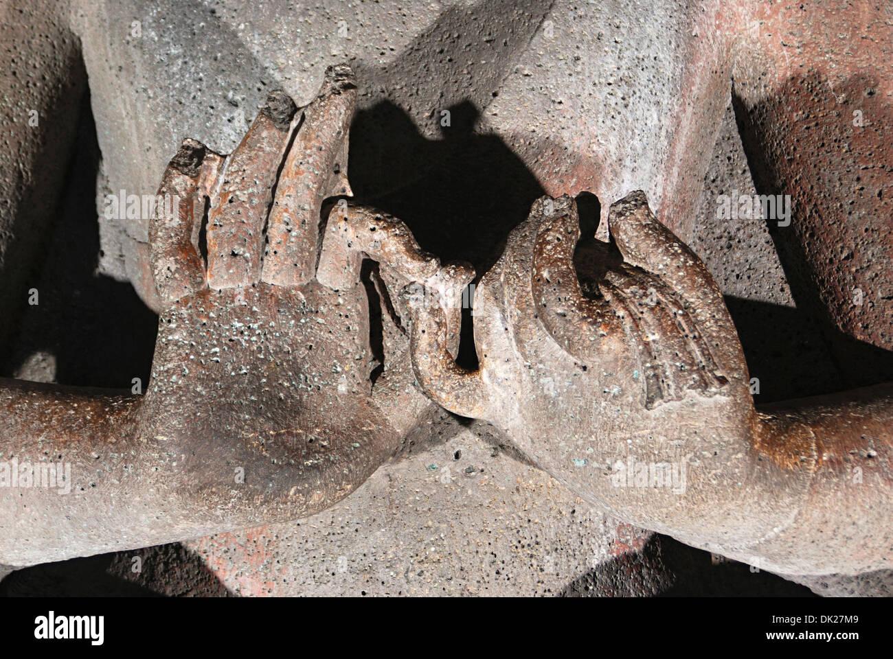 Höhle 20: Lehre Haltung Mudra. Ajanta Höhlen, Aurangabad, Maharashtra, Indien Stockbild