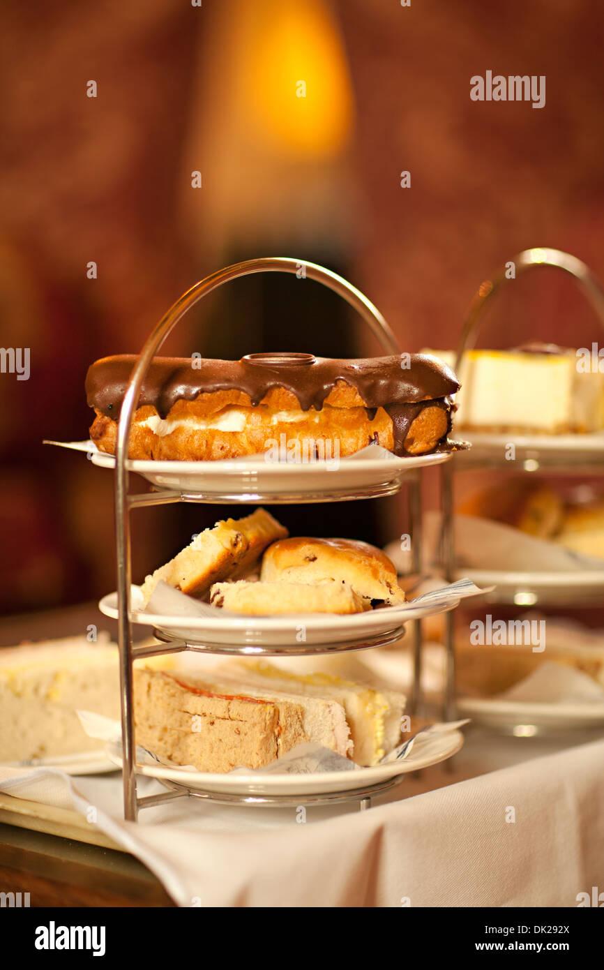 Nahaufnahme von Gebäck Süßspeisen auf Kuchen Stockbild