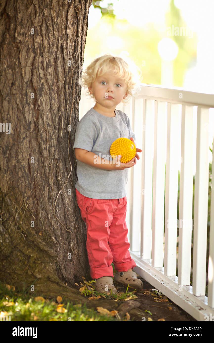 Porträt von blonde Kleinkind Jungen mit dem lockigen Haar mit gelben Ball durch Baumstamm und Zaun im Hinterhof Stockbild