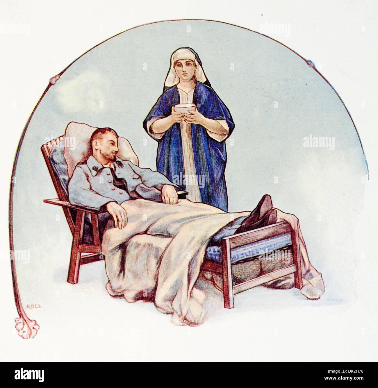 Plakat des Künstlers mit dem Titel Auguste Roll. Für diejenigen, die durch Tuberkulose verwundet. Stockbild