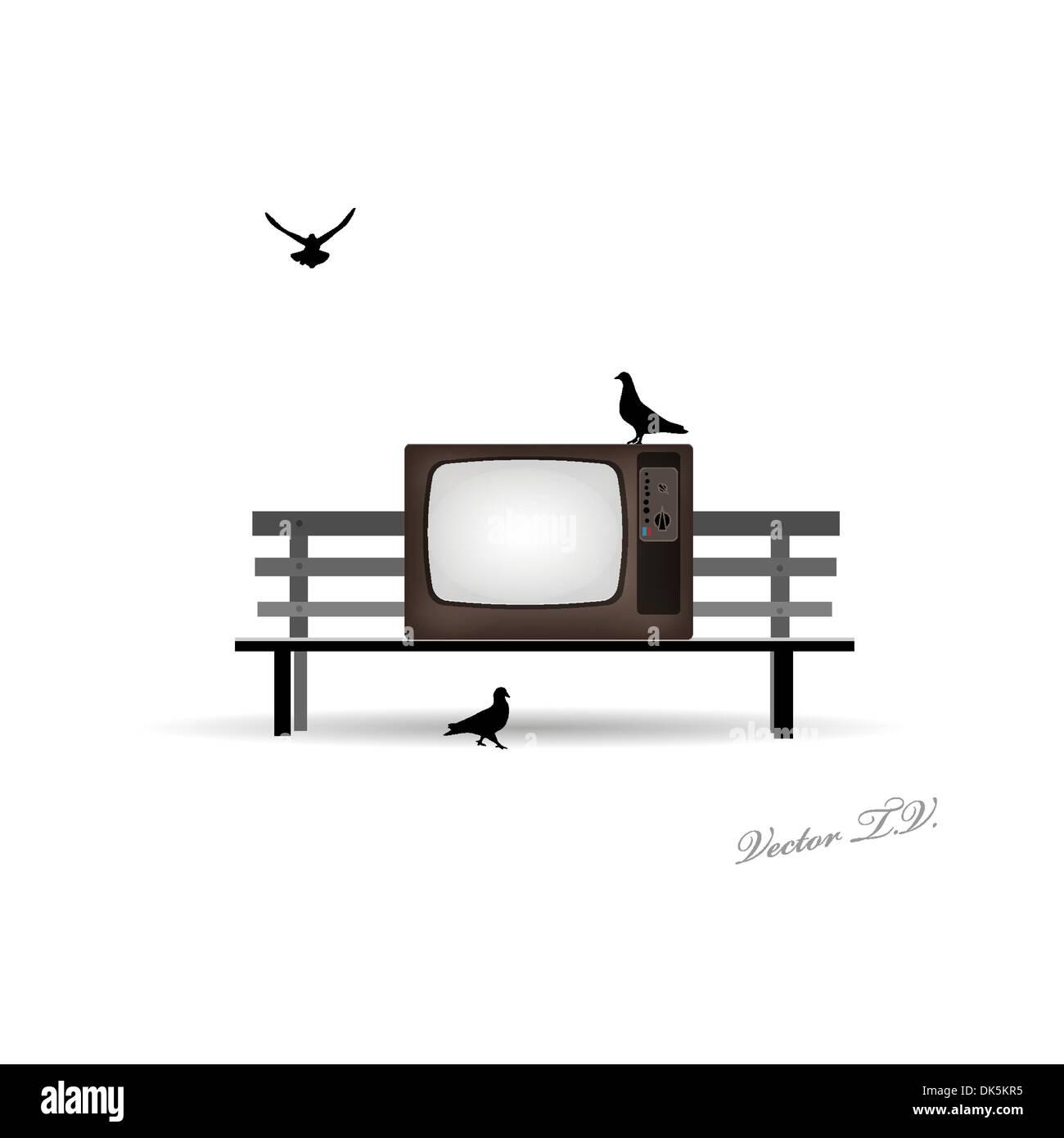 retro-tv auf die bank und tauben vektor abbildung - bild: 63434873