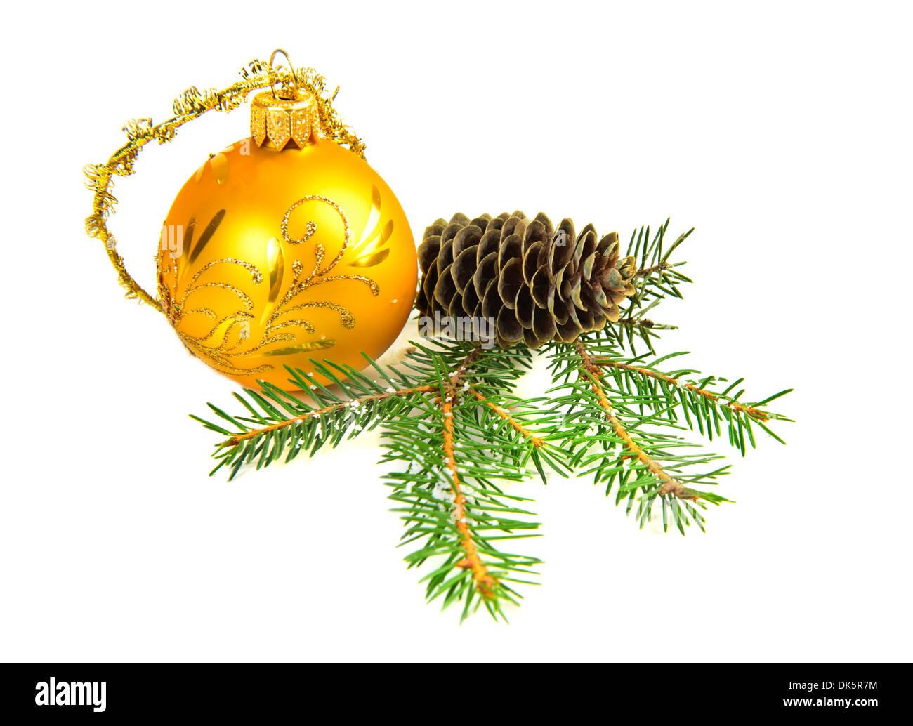 Weihnachten Dekoration Kugel Kegel Kiefer Stockbild